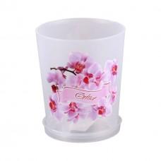 Горшок цветной 0,7л 'Цветочная фантазия' для орхидеи с поддоном