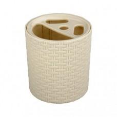 Стаканчик-подставка для зубных щеток пластмассовый 'Плетенка' (слоновая кость) (М2535)