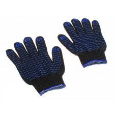 Перчатки с ПВХ 4-х нитка 10 кл. точка черные