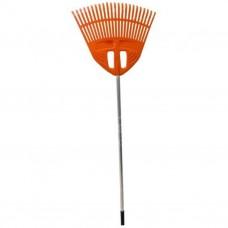 Грабли 23 зубьев веерные пластмассовые оранжевые 500мм с алюмин черенком 'Гардена'
