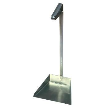 Совок для мусора оцинкованный открытый с вертикальной ручкой