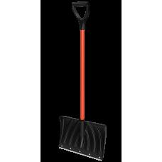 Лопата снегоуборочная 450ммх335мм пластмассовая 'Крепыш' с мет.черенком в оплетке и V-ручкой(в сборе