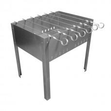 Мангал разборный 500ммх300ммх140ммх0,5мм + 6 шампуров уголок (410мм*10мм*0,5мм) в коробке