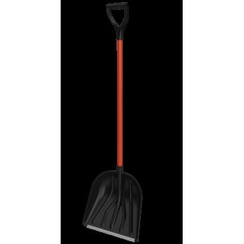 Лопата снегоуборочная 410ммх400мм пластмассовая 'Купец' с накл. и с мет.черенком в оплетке и V-ручк