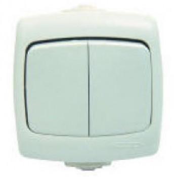 Выключатель 2-кл. ОП Рондо IP44 белый BA56-225Б-би VA56-225B-Bi 55243