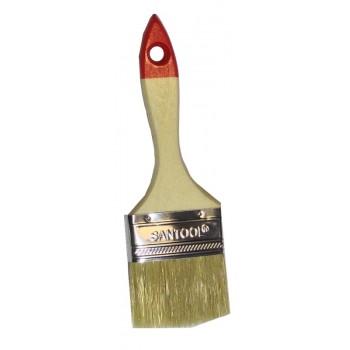 Кисть плоская 2,5' натуральная щетина, деревянная ручка