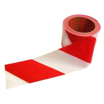 Лента сигнальная 75ммх200м (красно-белая)