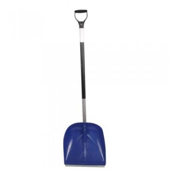 Лопата снегоуборочная 400ммх380мм пластмассовая с V-обр. ручкой, алюминиевым черенком и накладкой №3
