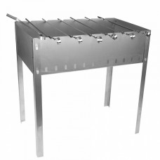 Мангал разборный 350ммх250ммх140ммх0,5мм + 5 шампуров уголок (370мм*10мм*0,5мм) в коробке М2