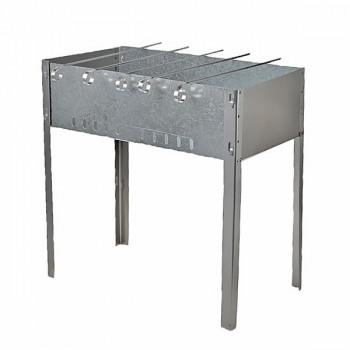 Мангал разборный 400ммх250ммх140мм + 5 шампуров уголок (370мм*10мм*0,5м) в коробке 0,5мм М3