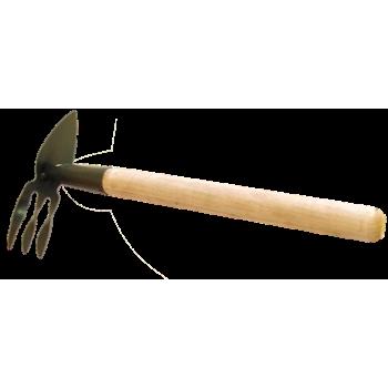 Мотыжка-рыхлитель 3 зуб.+ лепесток (деревянная ручка) МКП-3-2 (Павлово)