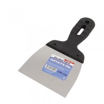Шпатель 100мм EUROTEX нержавеющая сталь с пластмассовой ручкой