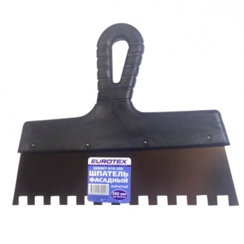 Шпатель фасадный 250мм зубьев 10×10мм EUROTEX нержавеющая сталь пластмассовая ручка