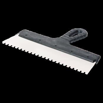 Шпатель фасадный 300мм зубьев 6×6мм нержавеющая сталь пластмассовая ручка