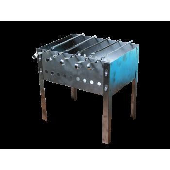 Мангал разборный 300ммх250ммх140ммх0,5мм нержавейка (5 шампуров уголок 370*10*0,5) (в коробке) М-1Н