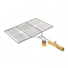 Решетка барбекю 63смх35х25см (хром, с деревянной ручкой, без бортов) JK-1205