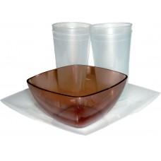 Набор туриста пластик (4 стакана, пиала, тарелка)