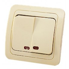 Выключатель 2-кл. СП 'Classic' 10А кремовый с индикатором 2123
