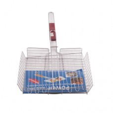 Решетка барбекю для курицы деревянная ручка с бортами хром (РД-102)